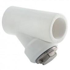 Фильтр грубой очистки полипропиленовый (КОСОЙ) белая PP-R Ø25 внутренний наружный