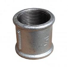 Муфта чугунная прямая O25 мм Fittex оцинкованная