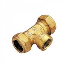 """Тройник обжимной Ø22х1/2""""х22 ВР с внутренней резьбой для медных труб """"TIEMME"""""""
