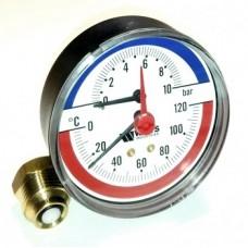 Термоманометр аксиальный F+R818 Ø100x1/2-6 bar (120°С) WATTS Ind (10018742)