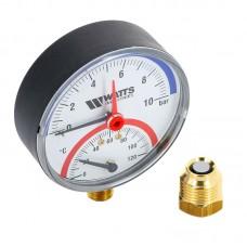 Термоманометр радиальный F+R828 Ø100x1/2-10 bar (120°С) WATTS Ind (10025525)