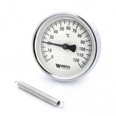 Термометр биметаллический накладной F+R810 TCM Ø80-120°С с пружиной WATTS Ind (10006505)