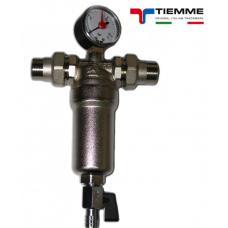 Фильтр тонкой очистки промывной с манометром горячей и холодной воды (100мк) TIEMME 3130N-1/2''