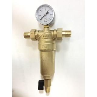 """Фильтр самопромывной с манометром TIM JH-1001 1/2"""" для горячей и холодной воды"""